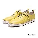 達芙妮DAPHNE 休閒鞋-綁帶拼接麻繩平底真皮休閒鞋-黃