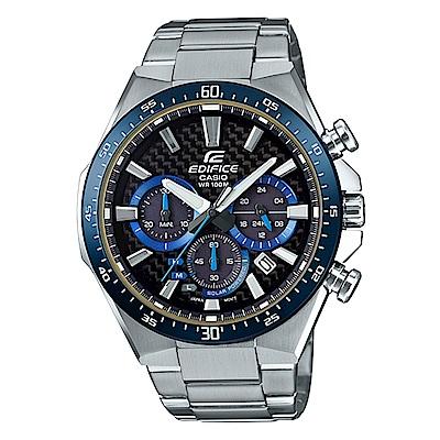 EDIFICE碳纖維3D立體錶盤太陽能計時賽車錶(EQS-800CDB-1B)-藍框47