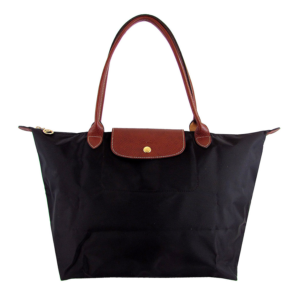 Longchamp黑色咖啡色皮飾邊長背帶折疊水餃包(大)LONGCHAMP