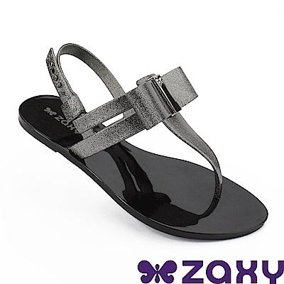 Zaxy 巴西 女 煥彩時光平底T字涼鞋-金蔥黑