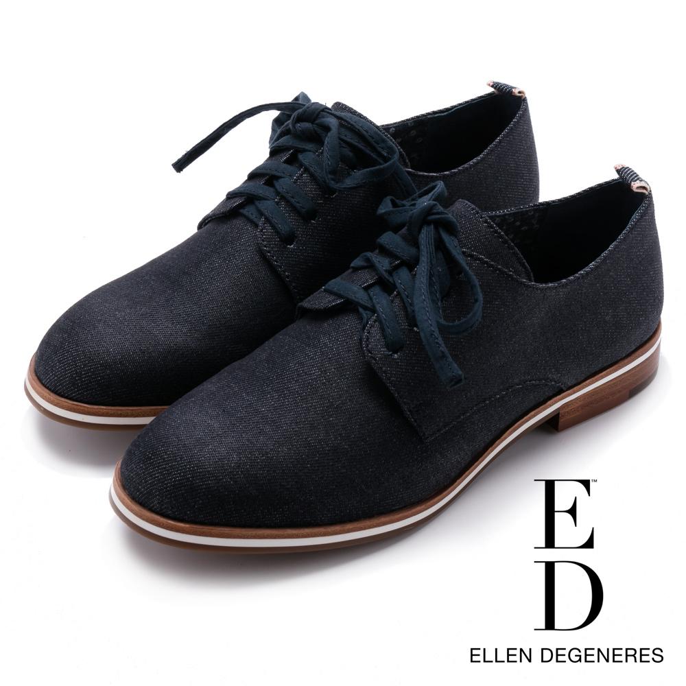 ED Ellen DeGeneres 簡約布面英倫牛津鞋-藍色