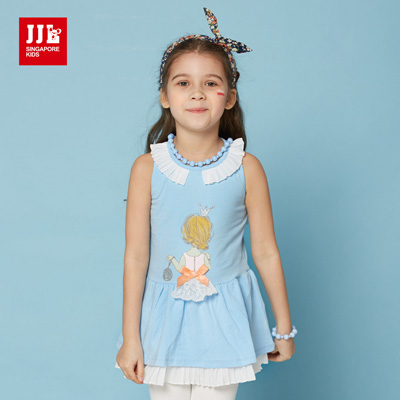 JJLKIDS 銀蔥皇冠小公主洋裝(天藍)
