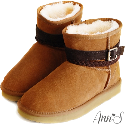 Ann'S甜蜜穿搭-麻花釦帶3way真皮雪靴 棕
