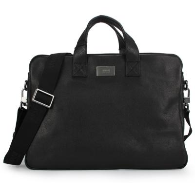 Armani Collezioni 經典素面皮革手提/斜背二用公事包-黑色