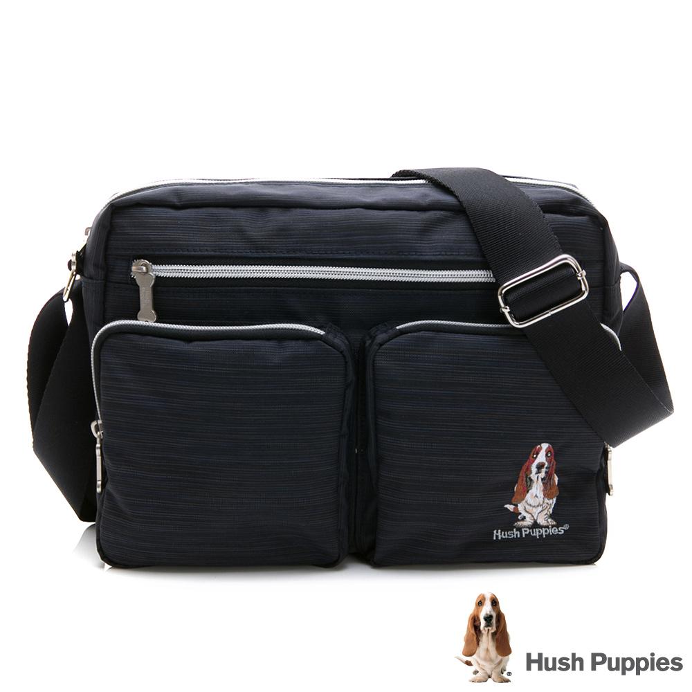 Hush Puppies 休閒簡約斜背包-黑藍色