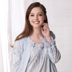 羅絲美睡衣 - 奢華蕾絲長版薄外套-外件 (淺藍)