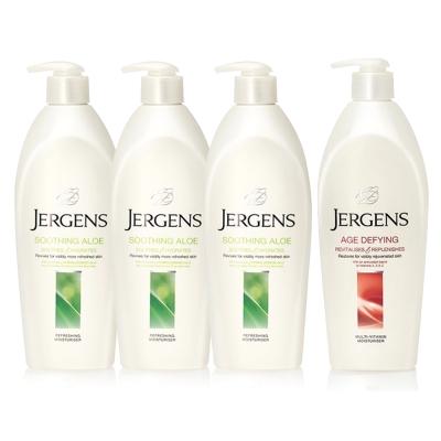 JERGENS珍柔 美體護膚保濕乳液650ml(4入組)-蘆薈x3+維他命x1