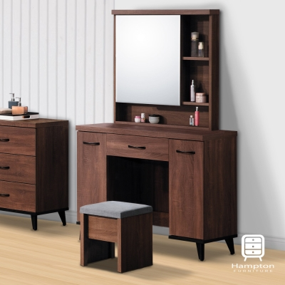 漢妮Hampton道奇系列淺胡桃鏡台組(附化妝椅)-97x40.2x162.6cm