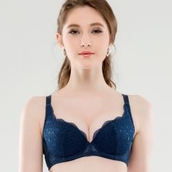 思薇爾 晴綻系列B-F罩蕾絲包覆內衣(陶瓷藍)