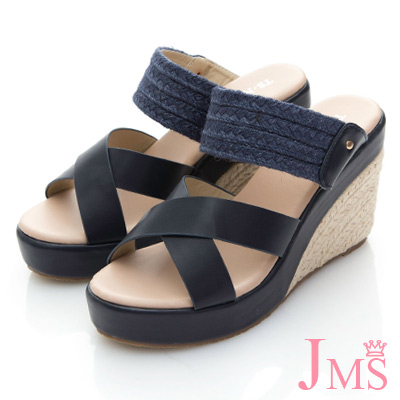 JMS-典雅迷人雙材質混搭楔型涼拖鞋-藍色