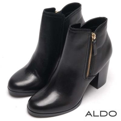 ALDO 原色真皮斜邊拉鍊復古木紋短靴~尊爵黑色