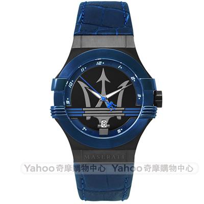 MASERATI 瑪莎拉蒂POTENZA動力三叉戟時尚手錶-黑X藍/42mm