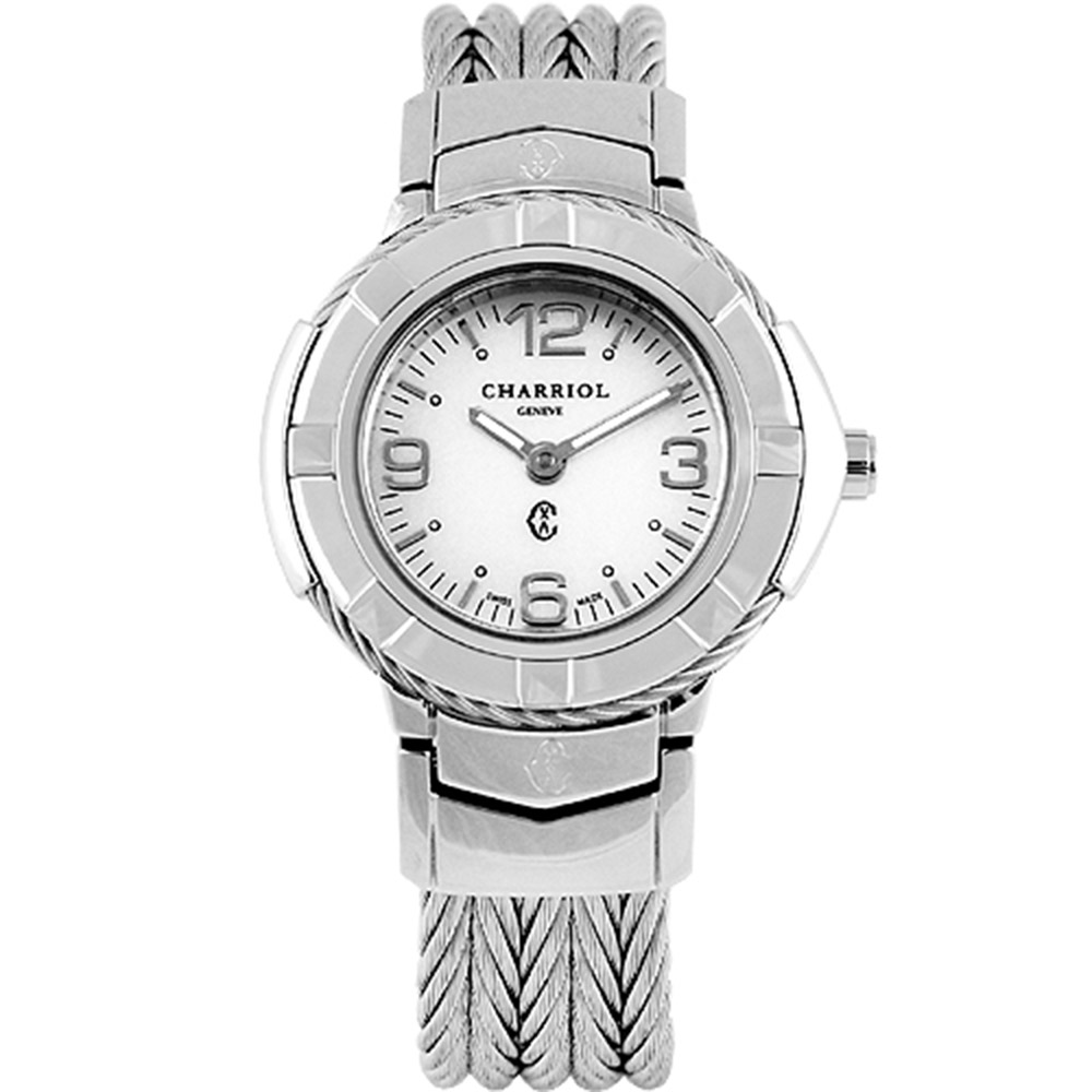 CHARRIOL 夏利豪New時尚經典鋼索腕錶-白/26mm