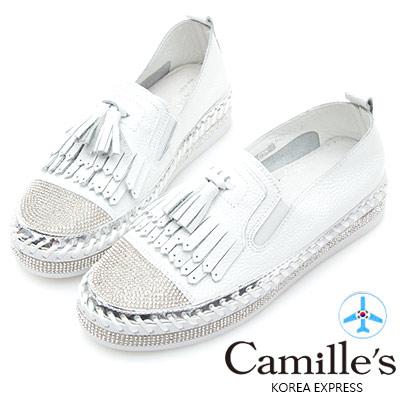 Camille s韓國空運-正韓製-鑽石厚底懶人鞋-流蘇款-白色