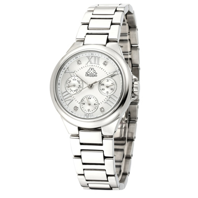 Kappa 羅馬三眼不鏽鋼時尚腕錶-銀/33mm