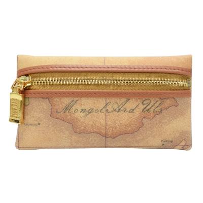 Alviero Martini 義大利地圖包 拉鍊零錢包-地圖黃