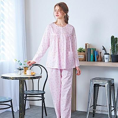 睡衣 精梳棉小碎花平織薄長袖兩件式睡衣(R77201-2夢幻粉) 蕾妮塔塔