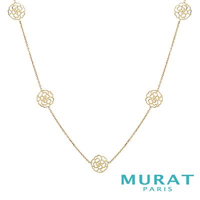 MURAT Paris米哈巴黎 9K金系列 五朵玫瑰花項鍊