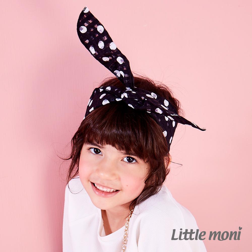 Little moni 大波卡圓點造型髮帶 黑色
