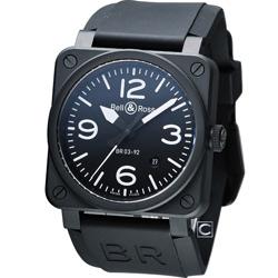 Bell & Ross 飛鷹戰士自動機械陶瓷腕錶-黑/42mm