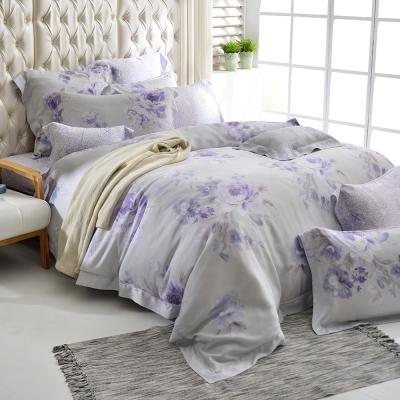 義大利La Belle 雙人天絲防蹣抗菌吸濕排汗兩用被床罩組-紫丁香氣