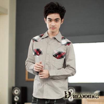 Dreamming 韓風剪接格紋長袖休閒襯衫-共二色