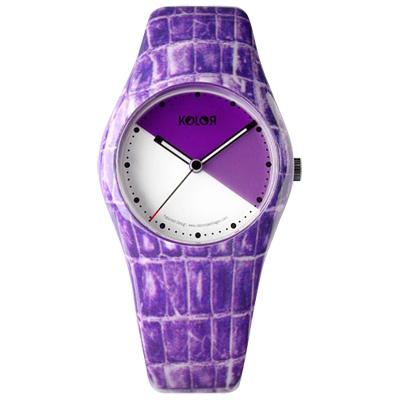 Noon KOLOR花樣年華丹麥變臉時尚腕錶-鱷魚紋/紫/33mm