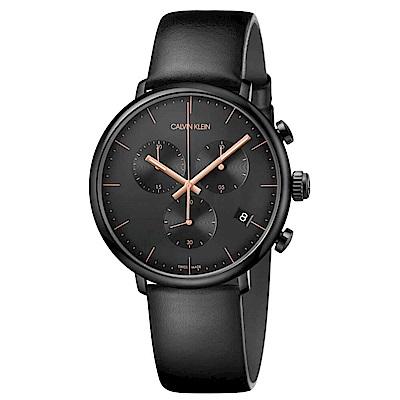 CK CALIVN KLEIN High Noon巔峰系列鍍PVD黑計時手錶-43mm