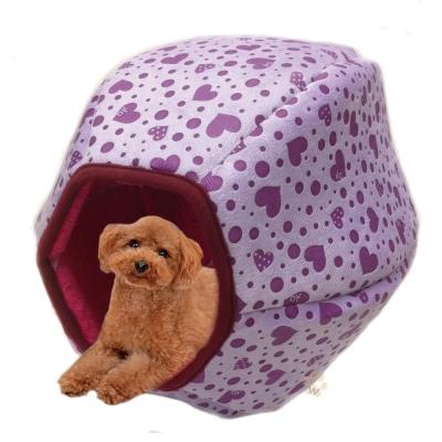 寵喵樂-立體六角燈籠窩-紫色愛心