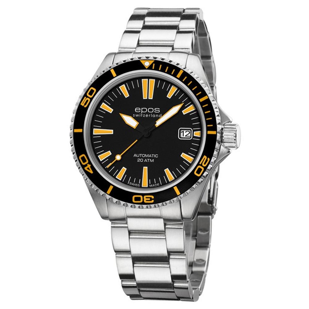 epos愛寶時 深海探險家200米潛水機械錶-黑x橘時標/41mm
