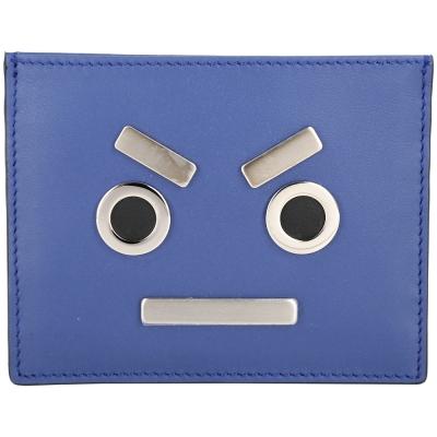 FENDI FACES 金屬表情圖案萬用卡片夾(藍色)