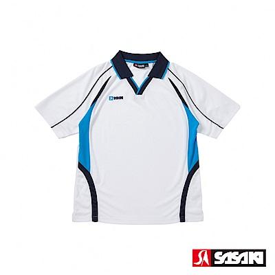 SASAKI 吸濕排汗排球短衫-男-白/翠藍
