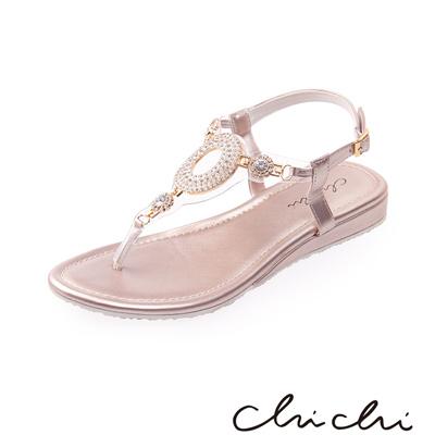 Chichi 華麗圓圈水鑽夾腳涼鞋*玫瑰金