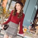 東京著衣-yoco 簡約百搭撞色喇叭袖針織上衣-S.M.L(共二色)