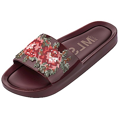 Melissa 華麗刺繡風時尚拖鞋-酒紅