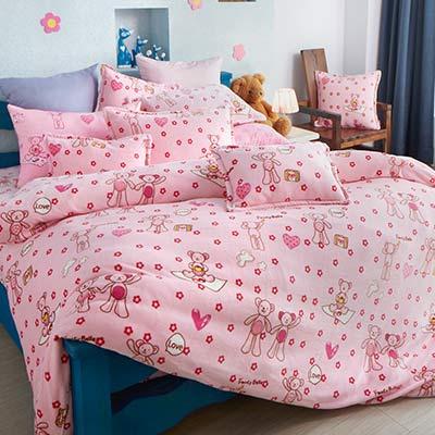 義大利Fancy Belle 甜蜜寶貝熊 加大四件式雪芙絨被套床包組