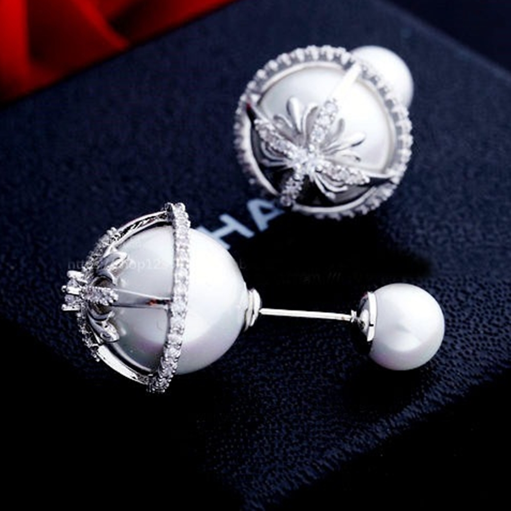 梨花HaNA 韓國925銀微鑲雪花鑽框雙面珍珠耳環