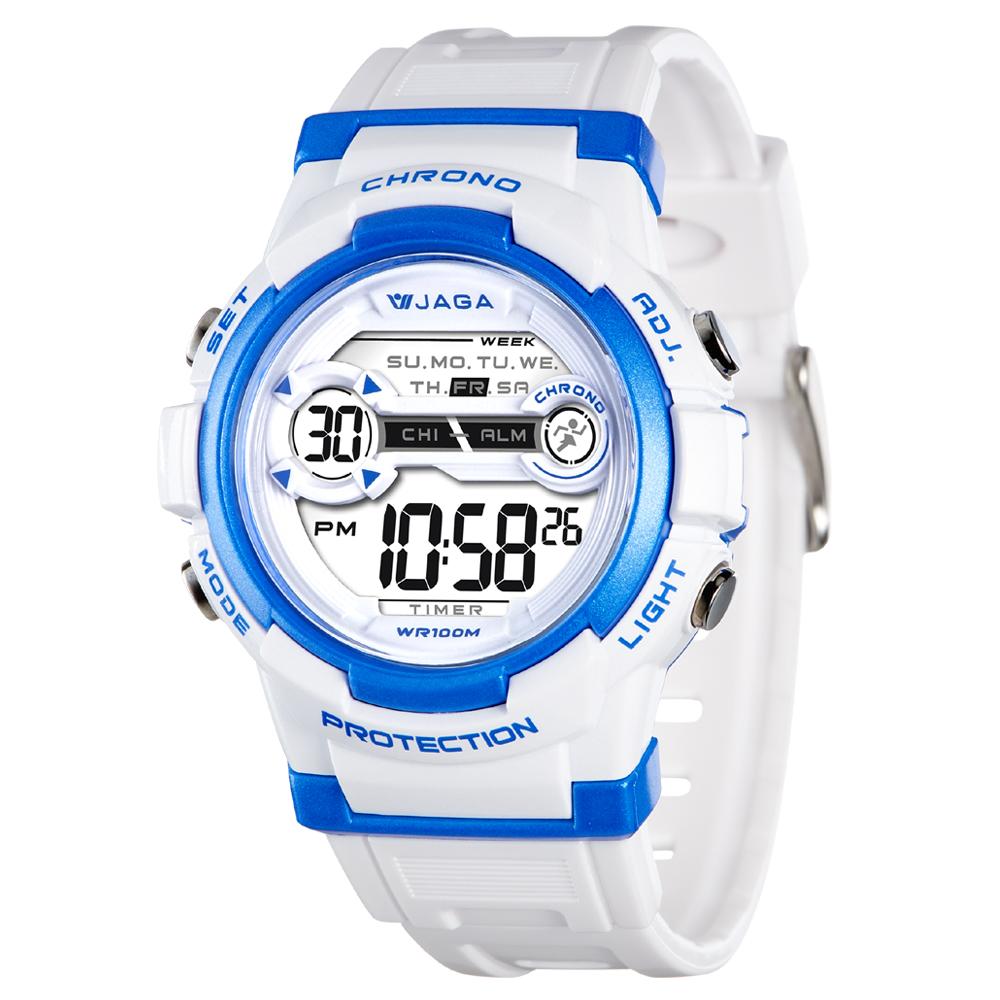 JAGA 捷卡 M1126-DE 色彩繽紛花漾年華多功能電子錶-白藍