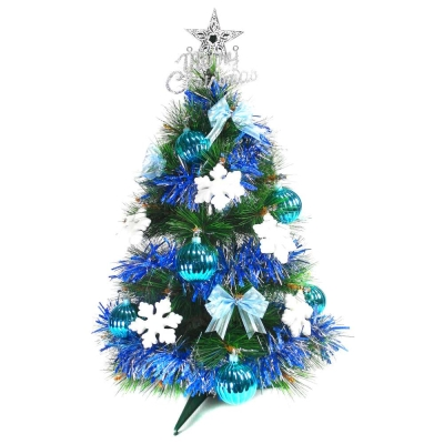 台製2尺(60cm)特級綠色松針葉聖誕樹 (藍白雪花系)