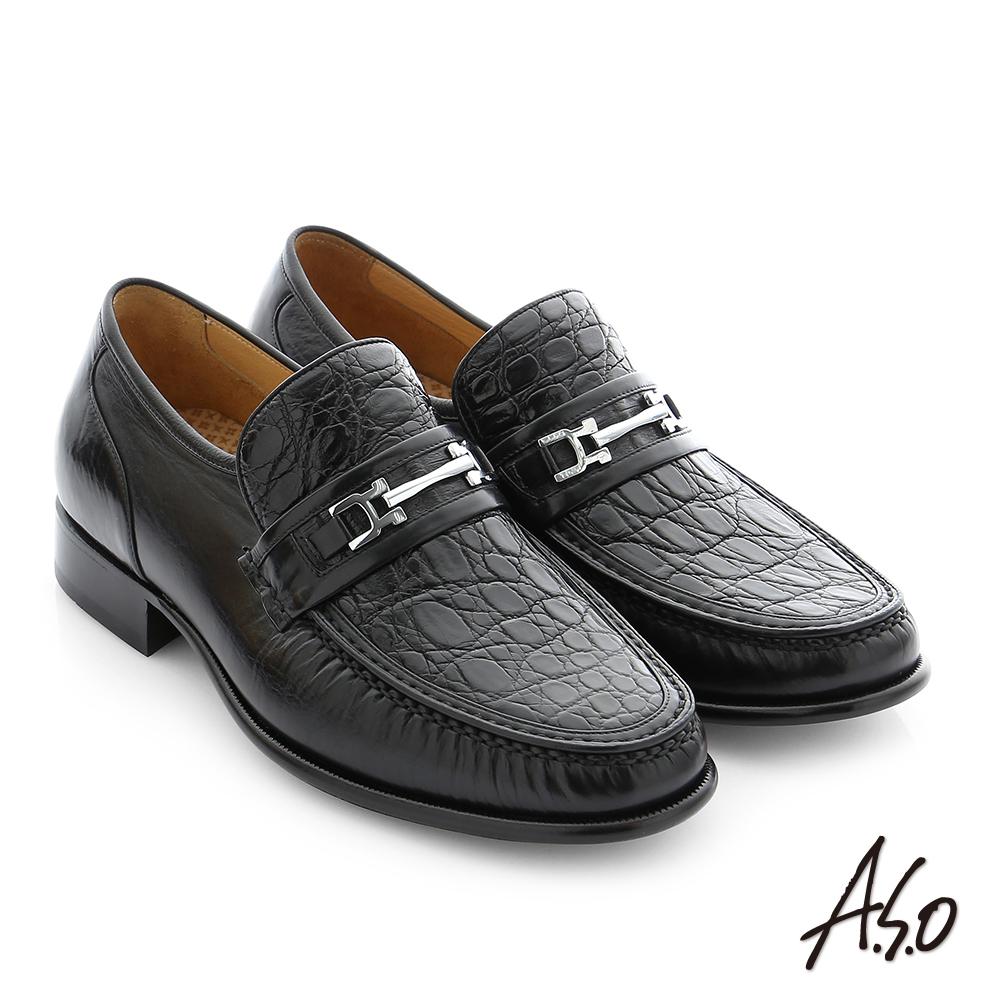A.S.O 極致工藝 鱷魚牛皮金屬飾釦手縫紳士鞋 黑色