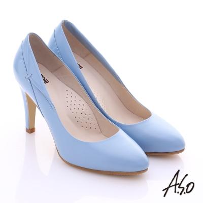 A.S.O 復古女伶 鏡面真皮側翻摺高跟鞋 粉藍