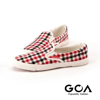 GOA可愛彩色格子休閒鞋-黑紅格