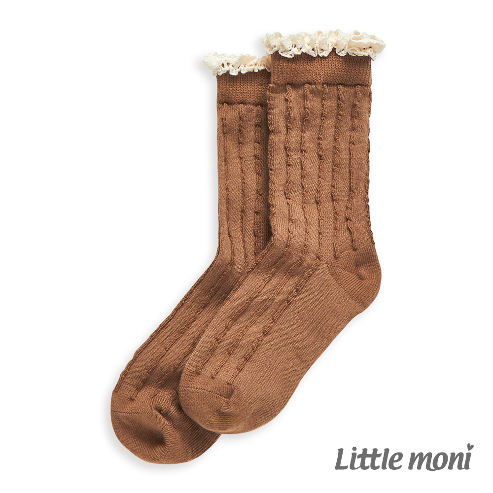 Little moni 素色針織花邊中筒襪 駝色