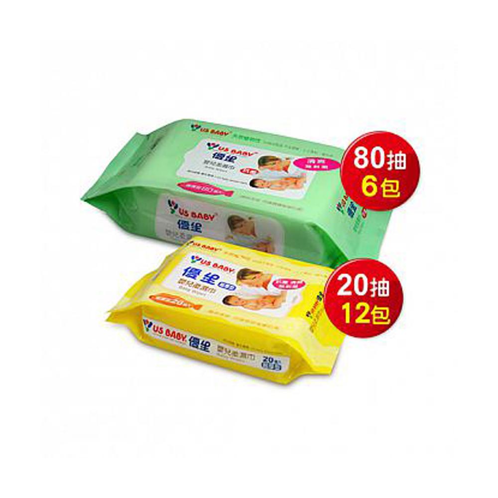 優生嬰兒柔濕巾80抽6包(清爽型) +  超厚柔濕巾20抽12包