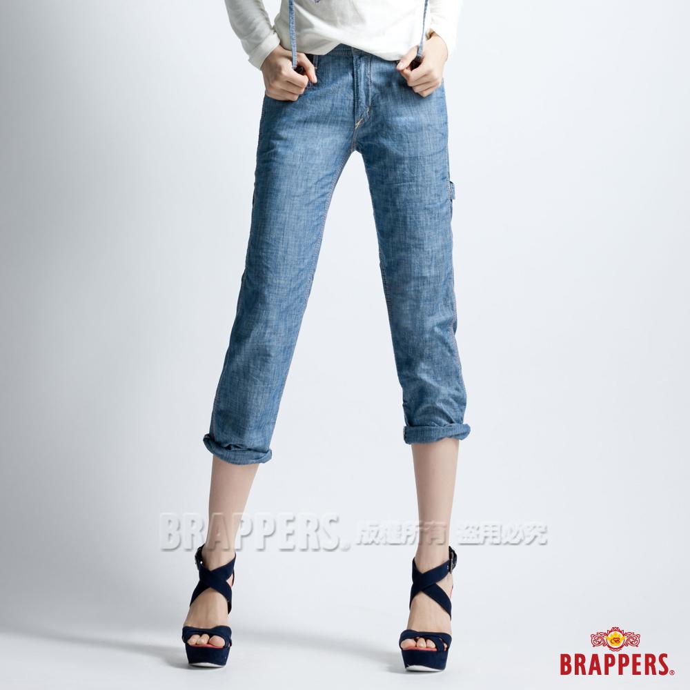 BRAPPERS 女款 Boy Friend Jeans系列-女用3D八分反摺工作褲-淡藍
