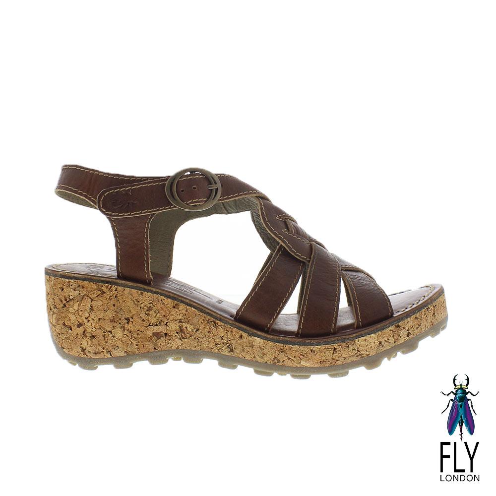Fly London(女) 麻花捲楔型高底真皮涼鞋 - 卡布咖