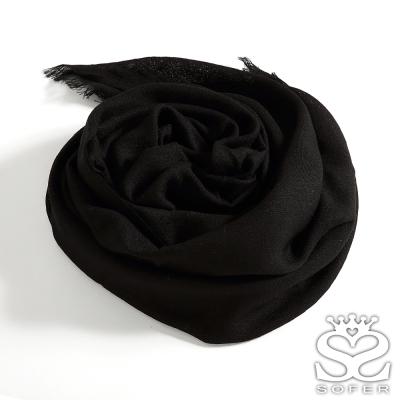 SOFER-經典素色100-羊毛保暖披肩-圍巾-星空黑
