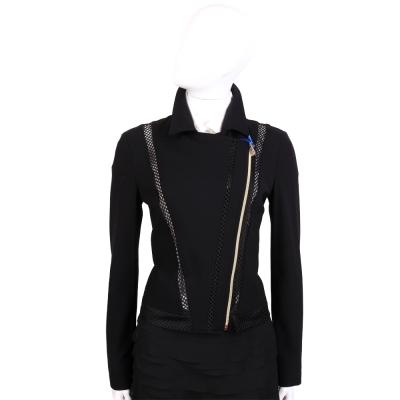 VERSACE 黑色鏤空洞飾拉鍊外套