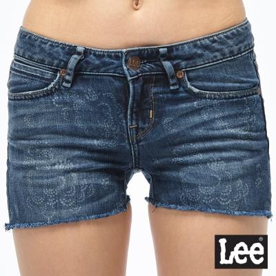 Lee 牛仔短褲 超低腰緊身牛仔短褲-女款-深藍