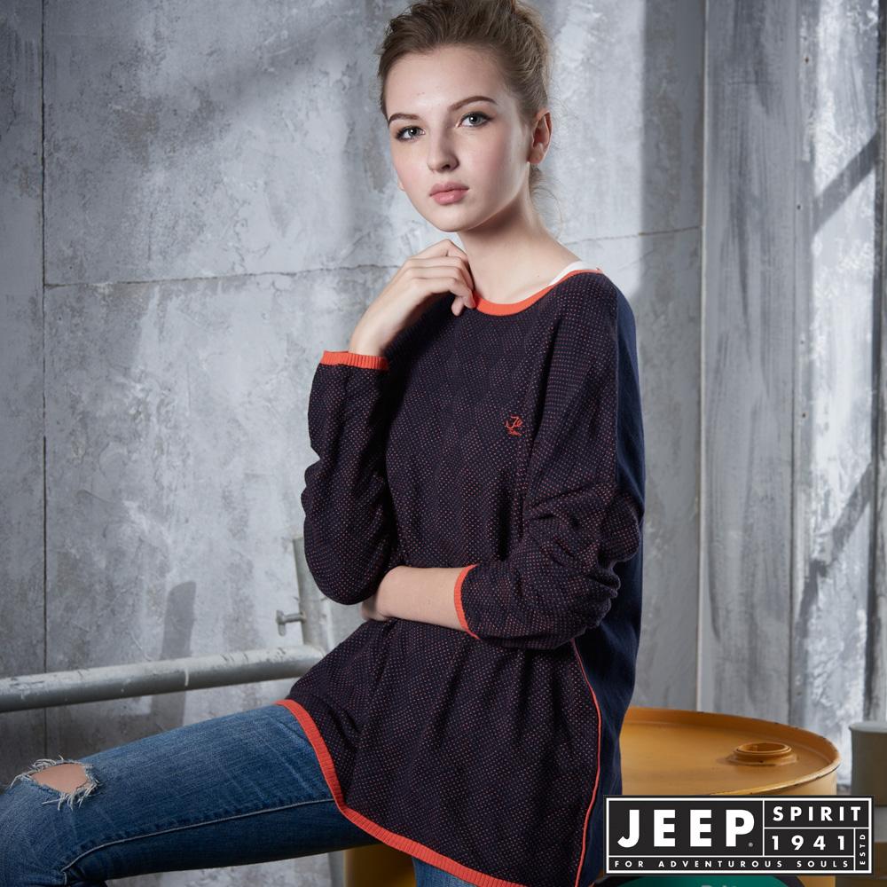 JEEP 女裝 休閒撞色點點造型長袖針織衫 -橘色